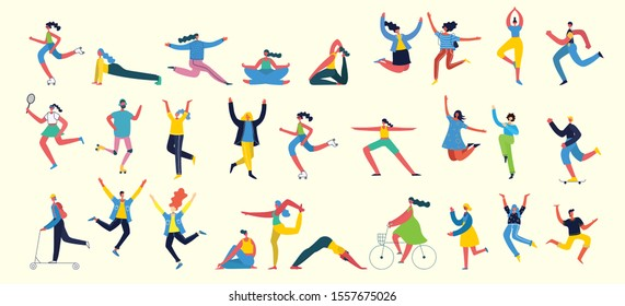 Vector illustration concept flat design of men and women doing sport and healthy lifestyle background - World Health Day