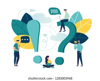 Vector illustration, concept illustration of frequently asked questions people around exclamations and question marks, metaphor question answer