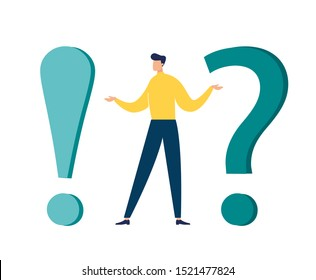 Vector illustration, concept illustration of frequently asked questions of exclamation marks and question marks, metaphor question answer vector