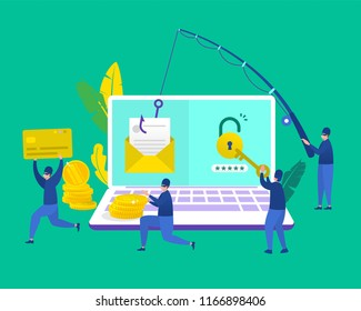 vector illustration concept group of hacker stealing data and doing phising via email, vector template background isolated, can be use for presentation, web design, banner ui ux, landing page, flyer