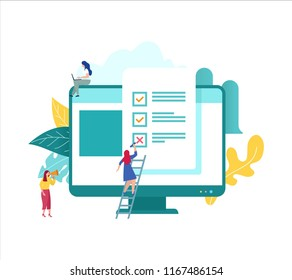vector illustration concept group of people fill in the answer online form survey, showing quiz exam on monitor with paper sheet, can be use for landing page, web ui, banner, poster, template, flyer
