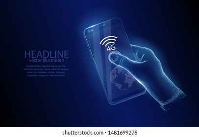 Vector illustration concept, hand with smartphone and new generation 4G communication, on dark blue background, symbol of technology innovation, internet.