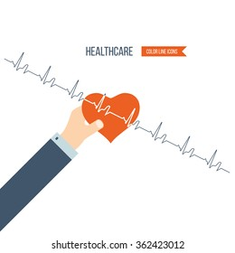 Vector illustration concept for healthcare, medical help and research. Online medical diagnosis and treatment.