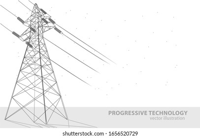 Vector illustration concept of a high voltage tower, on a white background, a symbol of electricity, progress, and technology.