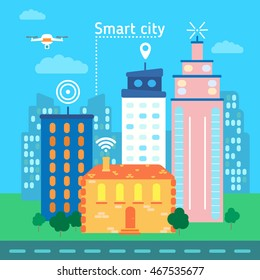 Vector illustration concept of holding smart-city