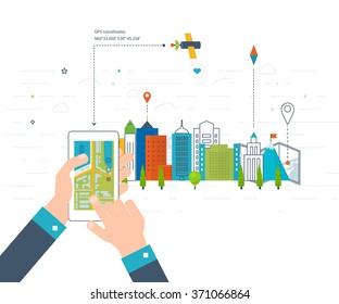 Vector illustration concept of  holding smart-phone with mobile navigation. Flat design modern vector illustration icons set of urban landscape and city life. Mobile navigation map. Building icon.