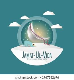 Vector illustration concept for Jamat Ul-Vida, last Friday of Ramadhan month. Wear mask, Stay Safe.