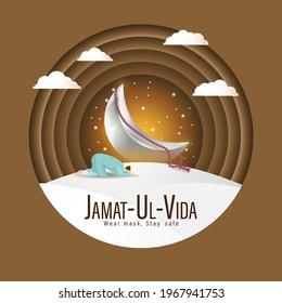 Vector illustration concept of Jamat Ul-Vida, last Friday of Ramadhan month. Wear mask, Stay Safe.