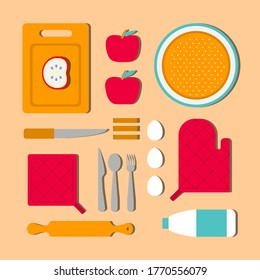 Vector illustration concept with knolling food to cook apple pie. Ingridients as cinnamon, eggs, milk and kitchen tools on table. Red and orange colors. Simplified flat design