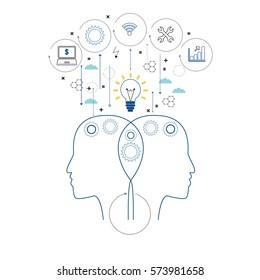 Vector illustration concept of knowledge, idea, education, creativity or communication