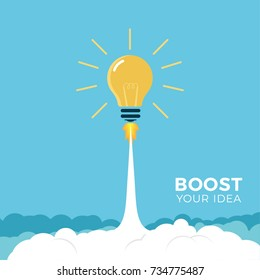 Vector illustration concept light bulb rocket launch for idea boost.