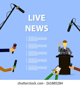 Vector illustration of a concept live news, reports, interviews.