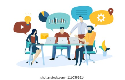 Vector illustration concept of market research, seo, business analysis, strategy, digital marketing, teamwork. Creative flat design for web banner, marketing material, business presentation.