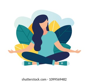 Vector illustration, the concept of meditation, the health benefits for the body, mind and emotions, the girl sits in the lotus position vector, the inception and the search for ideas