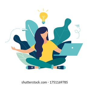 Vector illustration, concept of meditation workflow, health benefits for body, mind and emotions, lotus position, thought process, start and search for ideas vector
