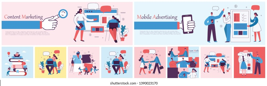 Vector illustration of concept of Mobile advertising and Content marketing in flat design