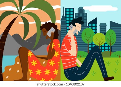 Vector illustration for concept of modern communication - two friends talking via smart phone from different locations in the world