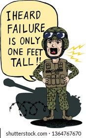 Vector illustration concept for motivational use. The drawing depicts drill sergeant is shouting the words to the cadets to be brave to embrace failure and then do better.