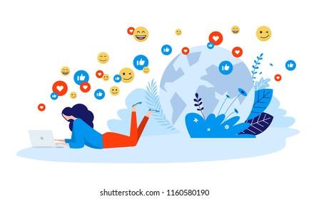 Vector illustration concept of networking, online communication, internet community, Creative flat design for web banner, marketing material, business presentation, online advertising.
