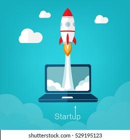 Concepto de ilustración vectorial para el nuevo proyecto de negocio se inicia en estilo plano. Silueta de cohetes y nubes - lanzando nuevo producto o servicio. Proceso de desarrollo tecnológico. Idea de innovación.