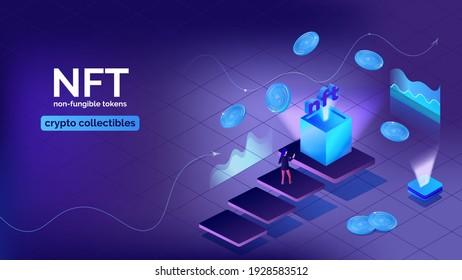 Vector illustration concept nft banner for website. Non-renewable token, crypto collectibles, art, games