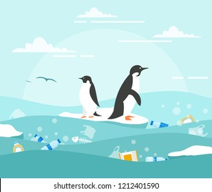 Vector illustration concept of ocean pollution with plastic waste. Penguins on the small piece of ice and lot of waste around in the water. Environmental protection concept in flat style.