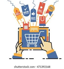Vector illustration concept for on line store. Digital marketing. Mobile payment