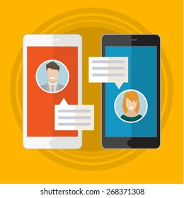 Vector illustration concept of online chat man and woman app icons in flat style