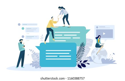 Vector illustration concept of online communication, social media, networking, community group. Creative flat design for web banner, marketing material, business presentation, online advertising.