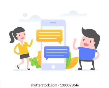 Vector illustration concept of online communication. Two people chatting with chat messages notification on smartphone.