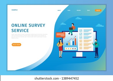 Vector illustration concept online landing page survey, people fill out online survey forms on computers, can be used for landing page websites,hompage, banner, flyer, mobile apps