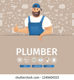 Vector Illustration Concept Page Plumber Service. Banner Vector Image Cartoon Web Page Piperline Repair, Installation Website. Smiling Plumber Holding Thumbs Up against Background Silhouettes Plumbing