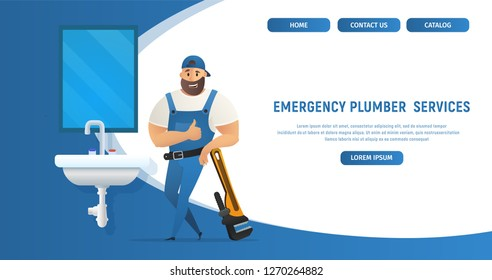 Vector Illustration Concept Page Plumber Service Banner Vector Image Cartoon Web Page Emergency Plumber Plumbing. Plumbing based Large Wrench Lifting Finger Up. Isolated White Background