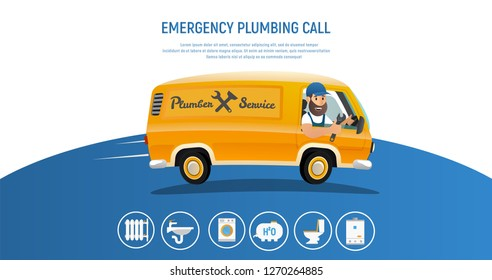 Vector Illustration Concept Page Plumber Service. Banner Vector Image Cartoon Web Page Piperline Repair, Installation Plumbing. Emergency Plumbing Call. Smiling Plumber Riding in Yellow Working Truck