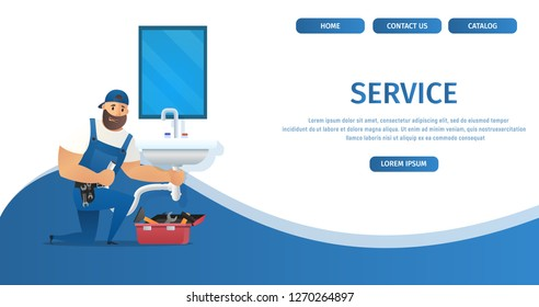 Vector Illustration Concept Page Plumber Service. Banner Vector Image Cartoon Web Page Plumbing Repair and Installation Plumbing. Plumber Uniform with Spanner Repairing Sink. Isolated White Background