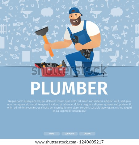 Vector Illustration Concept Page Plumber Service Stock Vector