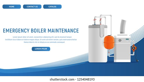 Vector Illustration Concept Page Plumbing Fixture. Banner Vector Image Cartoon Web Page Emergency Boiler Maintenance. Electronic Water Heating Boiler. Plumbing Fixture. Isolated White Background