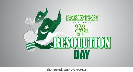 Vector illustration concept of Pakistan National day greeting, 23 March, flag, patriotic poster, banner