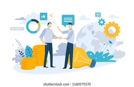 Vector illustration concept of partnership. Creative flat design for web banner, marketing material, business presentation, online advertising.