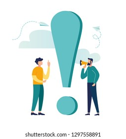 Vector illustration, concept illustration of people frequently asked questions, waiting to be answered, around the exclamation mark, answer to the metaphor of the question - vector - vector