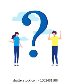 Vector illustration, concept illustration of people frequently asked questions around question marks, answer to question metaphor vector