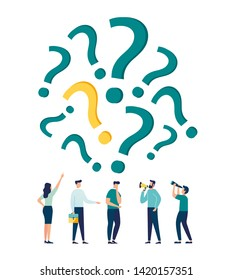 Vector illustration, concept illustration of people frequently asked questions around question marks, answer to question metaphor - vector - Vector
