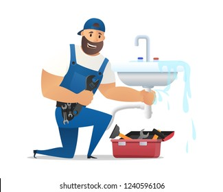 Vector Illustration Concept Plumber Service . Vector Image Cartoon Character Plumber in Uniform with Spanner Repairing Sink. Plumber repair with Toolbox. Isolated on White Background