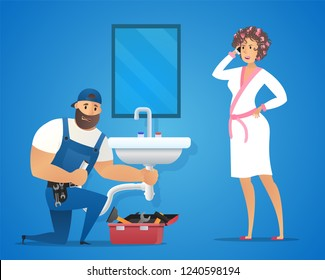 Vector Illustration Concept Plumber Service. Vector Image Cartoon Character Plumbing Repairing Plumbing Sink. Woman Housewife in Bathrobe Call to Plumbing Company with complaint. On Blue Background
