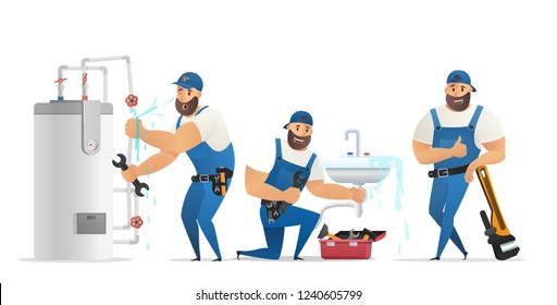 Vector Illustration Concept Plumber Service. Vector Image Cartoon Character Group Plumber in Process. Repairing Boiler, Eliminating Breakage Sink, Leaned on large Wrench. Isolated on White Background