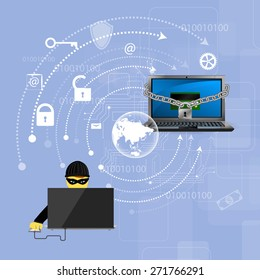 Vector illustration of the concept of protection against hacking.