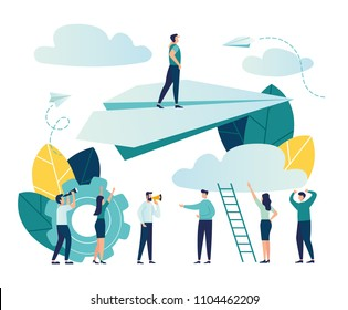 Vector illustration, concept of reaching the goal, a man rises up on a paper plane, the people downstairs support him and rejoice