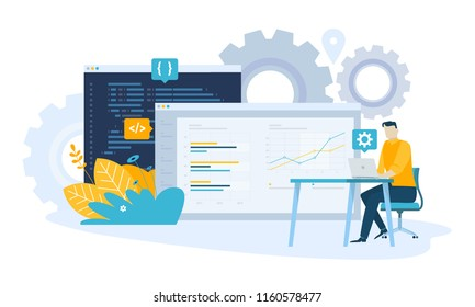 Vector illustration concept of SEO. Creative flat design for web banner, marketing material, business presentation, online advertising.
