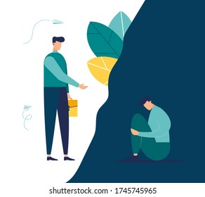 Vector illustration, concept of support for those under stress, a young man holds out his helping hand to another in a state of depression, light and dark side vector