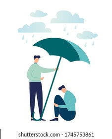 Vector illustration, concept of support for those under stress, a young man holds out an umbrella from the rain to another in a state of depression